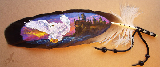 White owl harry potter hogwarts feather painting
