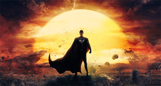 Rising sun superman man of steel fan art illustration artworks