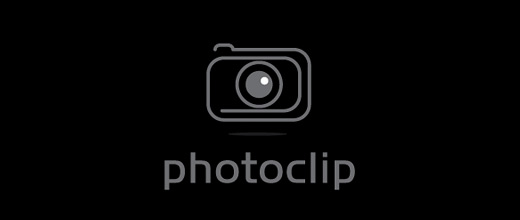 Camera photo paper clip logo design collection