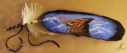Gryphon feather painting