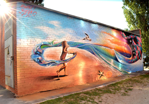 Wall color wave graffiti artworks collection
