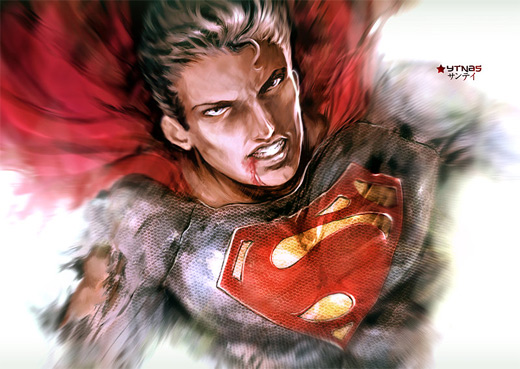 Wounded superman man of steel fan art illustration artworks