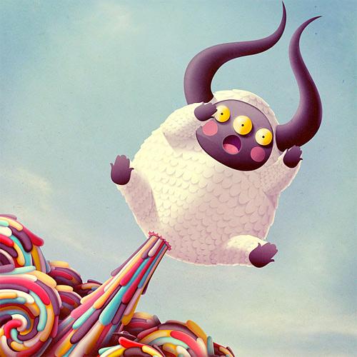 Illustration sheep monster