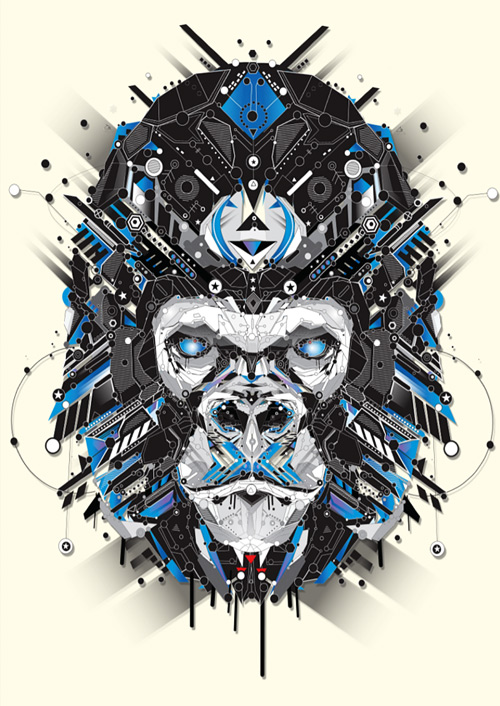 Ape animal shapes art yo az