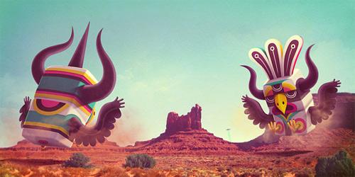 Eagles bird fighting monster illustration