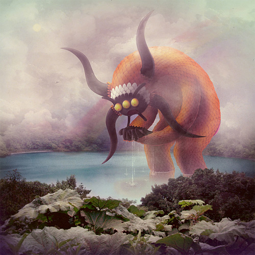 Lake monster illustration