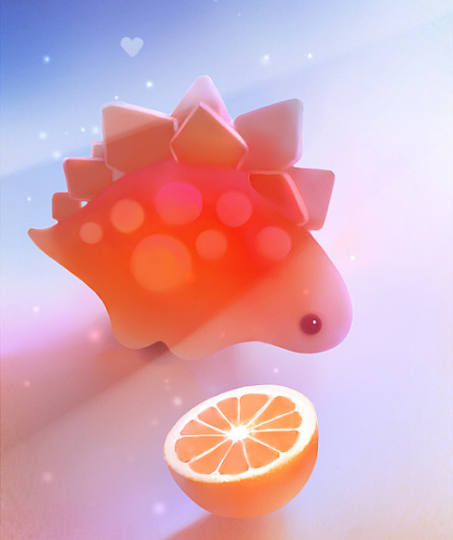 Orange dinosaur cute