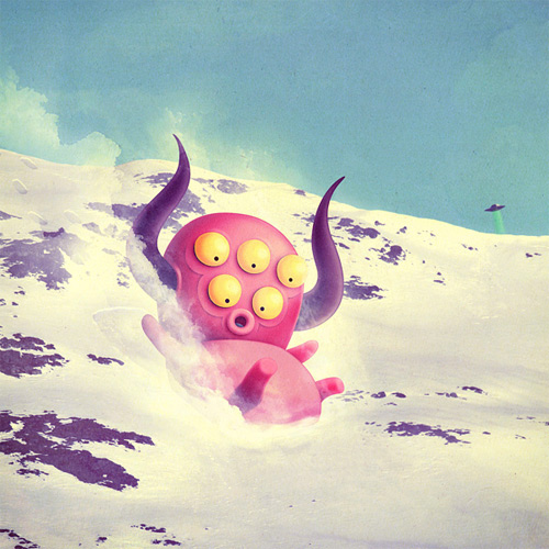 Cute pink monster illustration snow