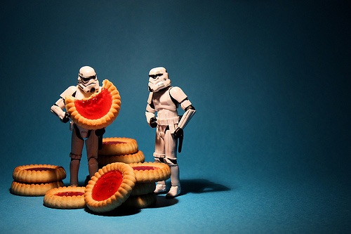 Eating cookie stormtrooper photogprahy