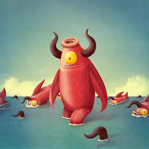 Fish monster illustration sea