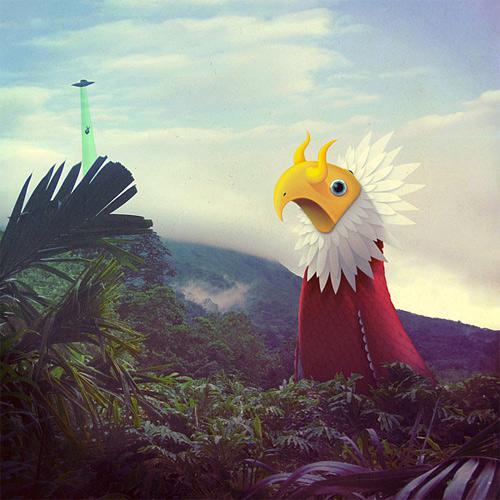 Huge bird monster illustration
