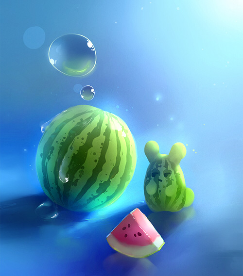 Watermelon bubble cute rat