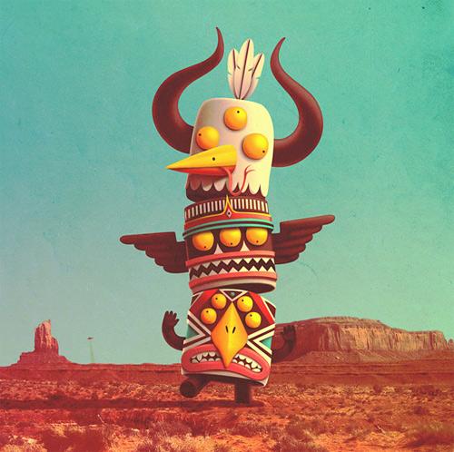 Totem monster tribal illustration