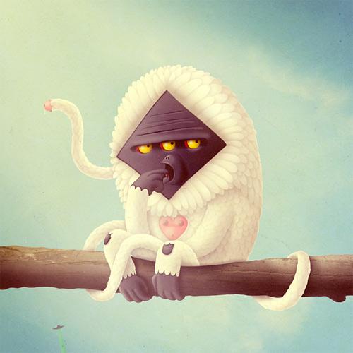 White baboon monster illustration