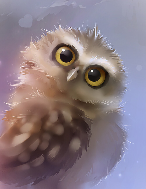 Brown owl cute illustration