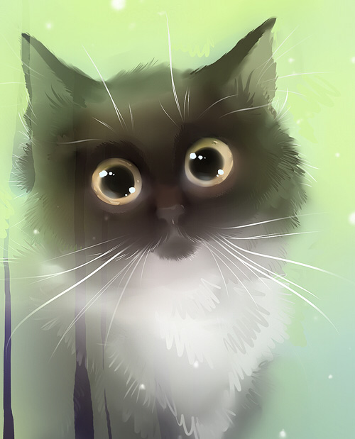Cat teary eyes illustration
