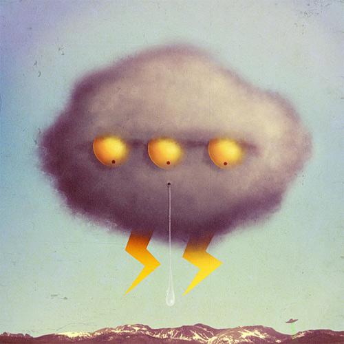Grey gray cloud rain lightning monster illustration