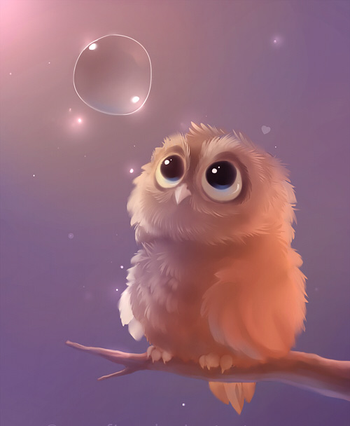 Baby owl brown cute bubble