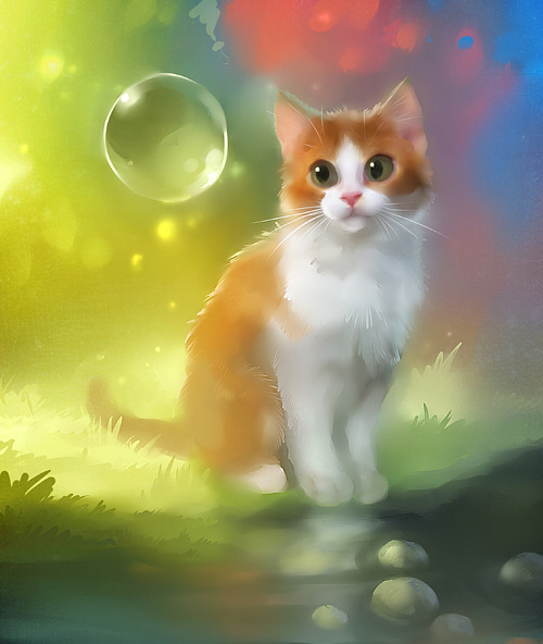 Beautiful cat bubble