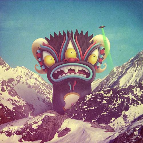 Ufo alien monster illustration