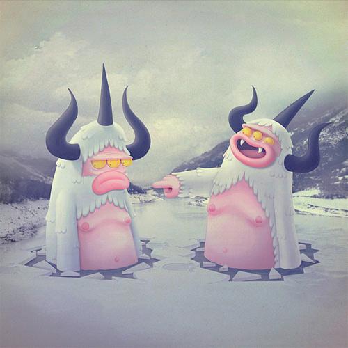 Yeti snowman monster illustration