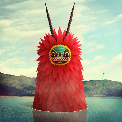 Big red lake monster illustration weird
