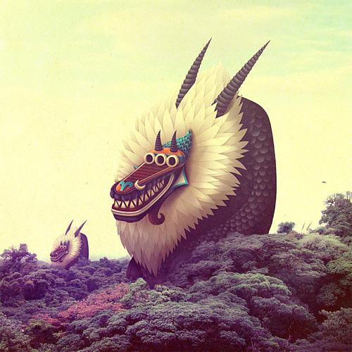 Weird dragon monster illustration mutate