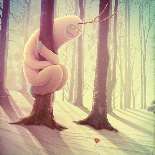 White snowman monster illustration