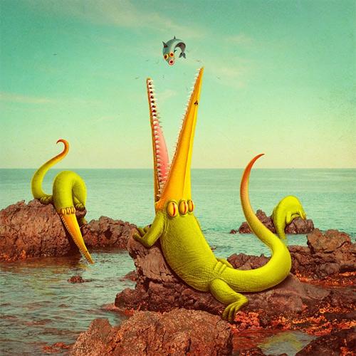 Reptile sea monster illustration