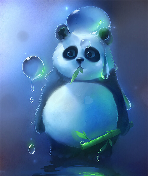 Panda bubble cute wet artwork