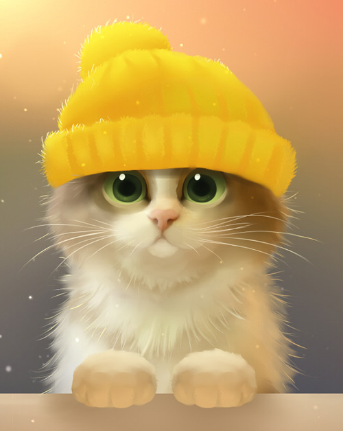 Cute cat yellow bonnet