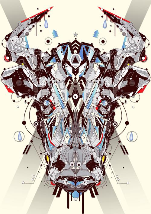 Cow animal shapes art yo az