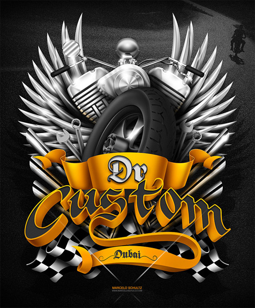 Dr custom motorcycle Schultz typography