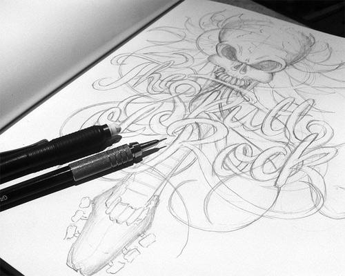 Skull rock Schultz typography