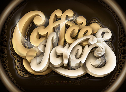 Coffee effect lettering Schultz typography