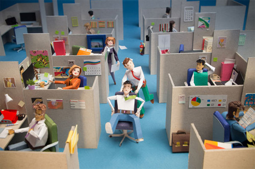 Cubby site people too paper sculptures