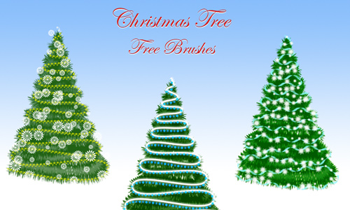 Green free christmas tree brush