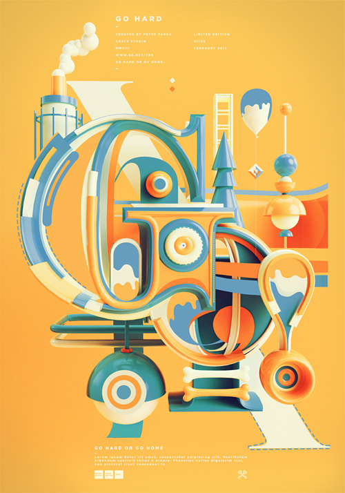 peter tarka typography illustration