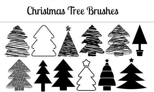 Sketch hi res free christmas tree brush