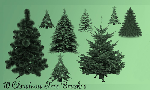 Realistic free christmas tree brush