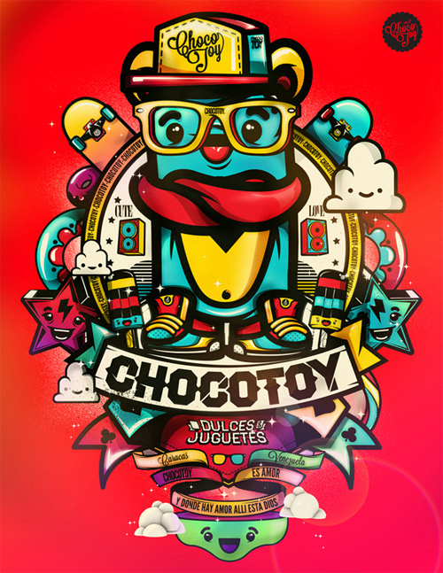 chocotoy illustrations typography