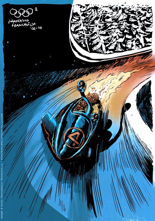 Francesco Francavilla Winter Super Olympics superheroes