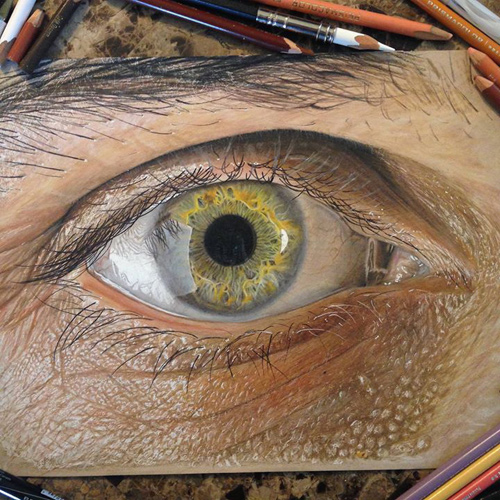 Redosking realistic eye drawings colored pencil