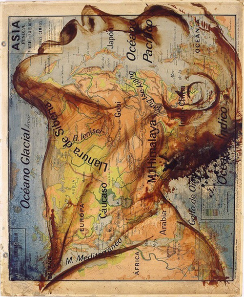 Fernando Vicente Atlas map paintings