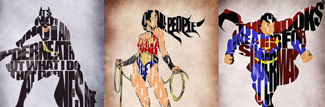 Typographic Illustrations Of Famous Characters And Superheroes