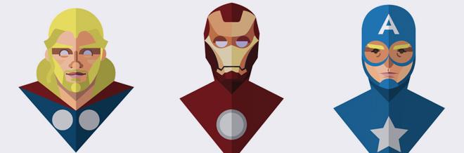 A Designers Version of Superheroes: Flat Design Heroes