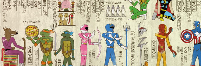 Hieroglyphics Illustrations Mixed With Modern Heroes And Characters