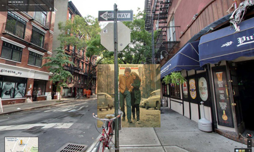 classic album covers superimposed google street view