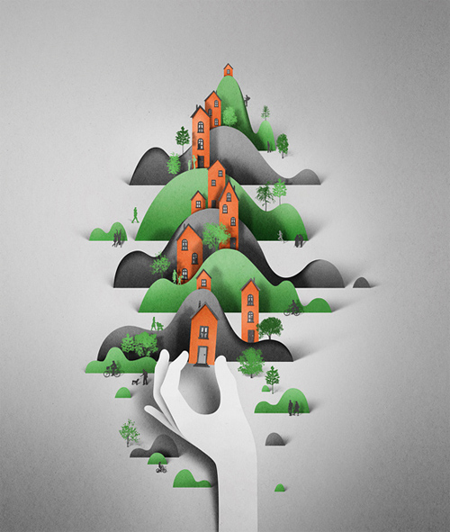 Eiko Ojala paper art illustration