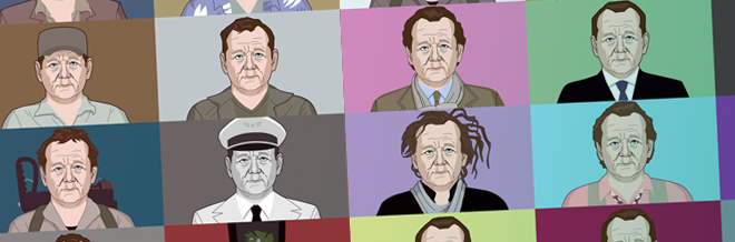 An Illustration Compilation Showing Bill Murray's Excellence In Movie Roles